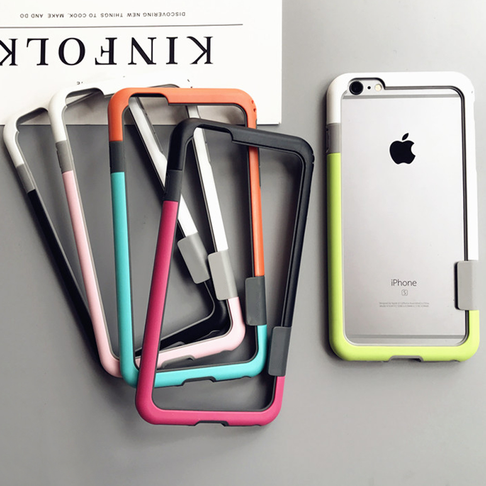Bumper Untuk iPhone 6 6s 7 8 plus X Soft TPU Frame Case Cover Slim Fundas Untuk iPhone 7 8 Plus bumper silikon lembut Multi Warna