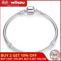 Luxury Original 100% 925 Sterling Silver Snake Chain Bracelet Bangle for Women Authentic Charm Jewelry Pulseira Gift XCHS902