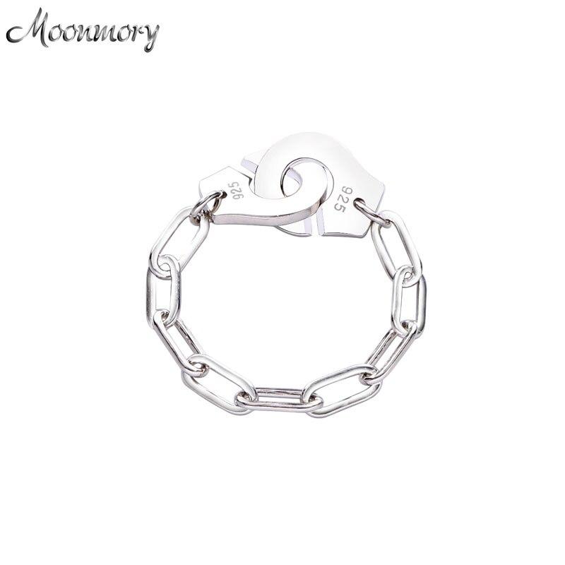 Anillo Moonmory de moda de Plata de Ley 925, anillo de mano, Clip de papel blanco, cadena para hombre, anillo de regalo para mujeres y hombres, joyería para citas