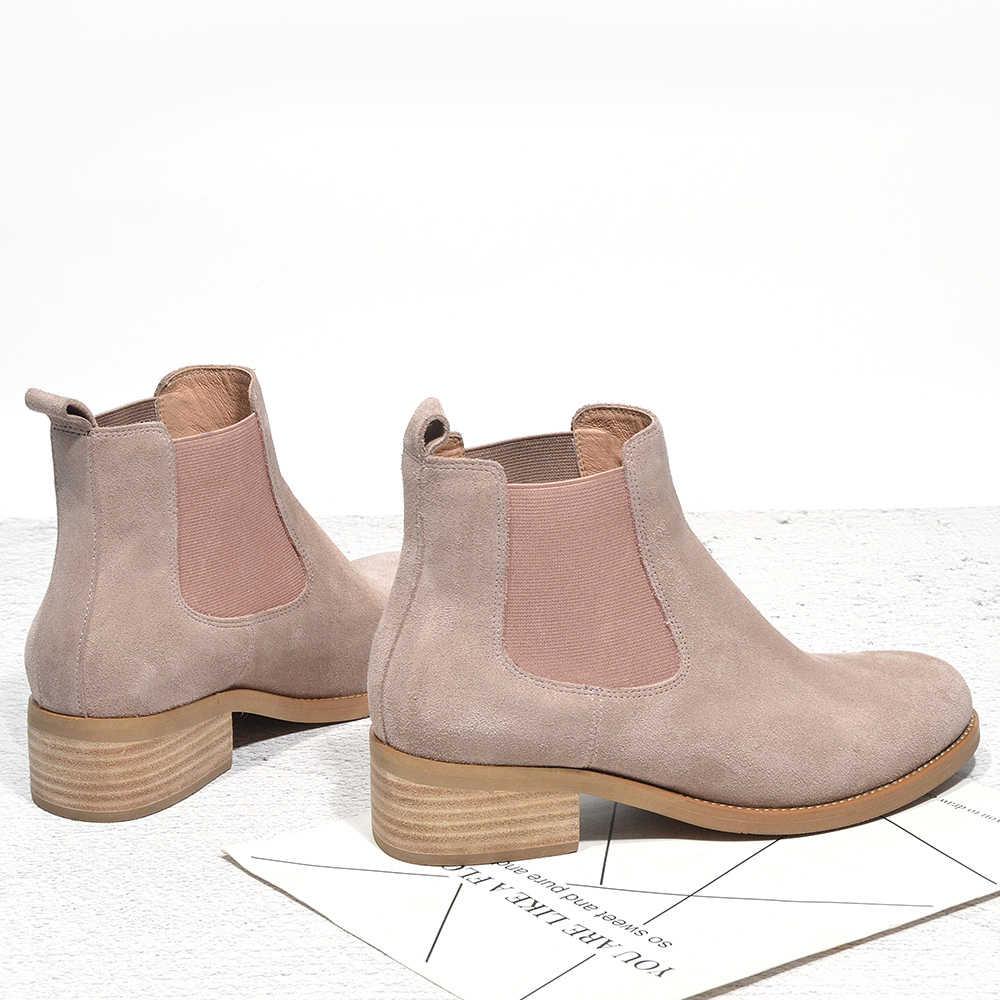 Donna-in marka hakiki deri Chelsea çizmeler kadın yarım çizmeler süet el yapımı kalın topuklu rahat ayakkabılar kadın ilkbahar sonbahar