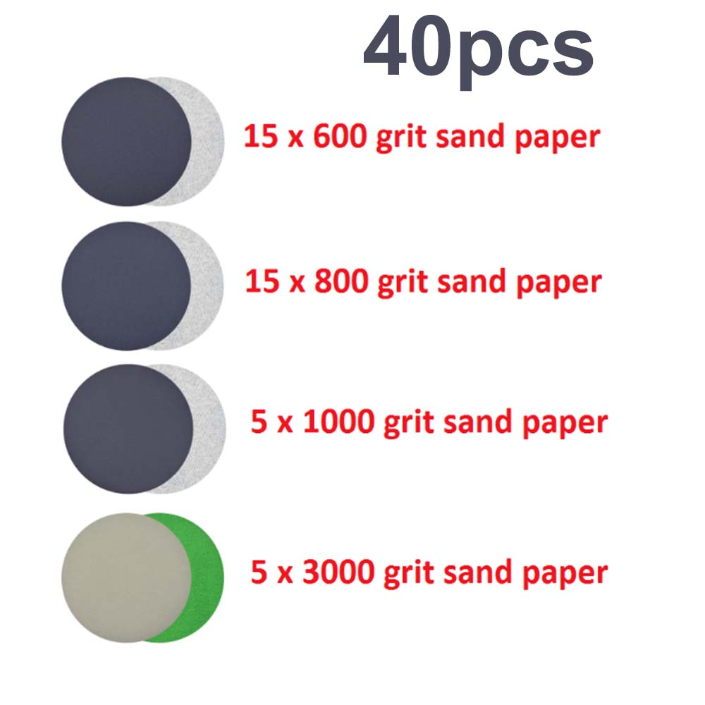 40Pcs Sandpaper 2 Inch Waterproof Discs 600 800 1000 3000 Grit Set Accessories