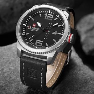 Image 5 - 2020 יוקרה למעלה מותג NAVIFORCE גברים צבאי ספורט שעונים גברים של קוורץ תאריך שעון איש עור שעון יד Relogio Masculino