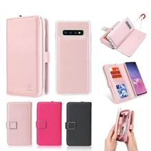 For Samsung S10 Plus Case Removable Flip Leather Folio Detachable Magnet Snap Card Slots Handbag Cover for Samsung S10 Lite Capa(China)