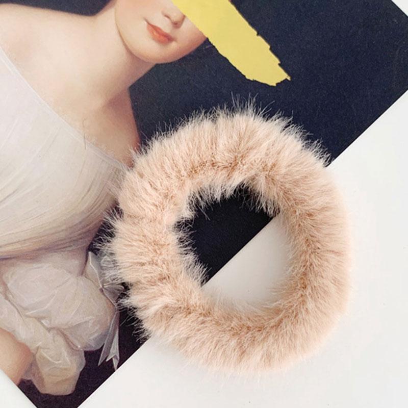 Новые зимние теплые мягкие резинки из кроличьего меха для женщин и девушек, эластичные резинки для волос, плюшевая повязка для волос, резинки, аксессуары для волос - Цвет: 59