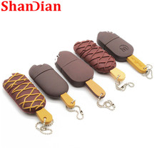 SHANDIAN cartoon ice cream pendrive usb flash disk pen drive 4GB 8GB 16GB 32GB 64GGB USB 2.0 Memory Stick U disk gift with chain