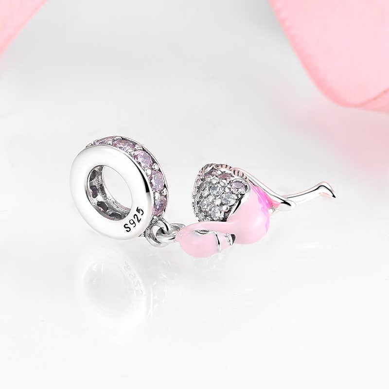 Sıcak 925 ayar gümüş pembe köpüklü CZ Flamingo takılar takı yapımı için kolye Fit orijinal Charm Pandora bilezik
