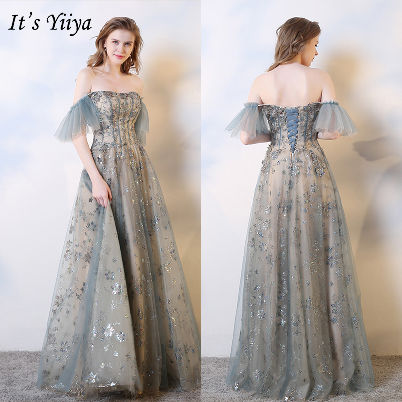 It's Yiiya Evening Dress 2019 Elegant Off Shoulder Boat Neck Party Formal Gowns Floral Print A-Line Floor Length Dresses E1023