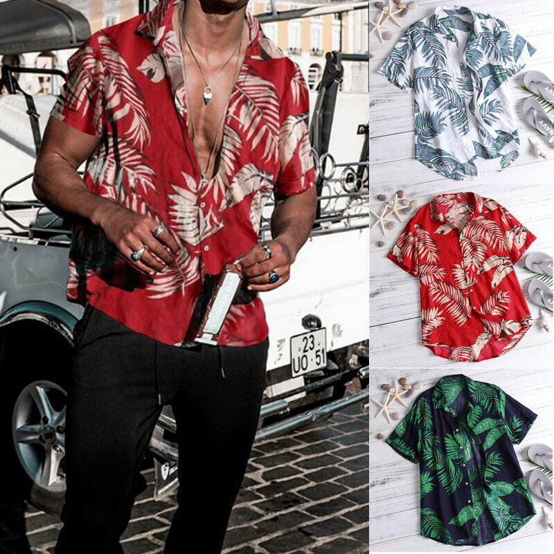 MENS HAWAIIAN SHIRT STAG BEACH HAWAII ALOHA  SUMMER HOLIDAY FANCY RED PALM