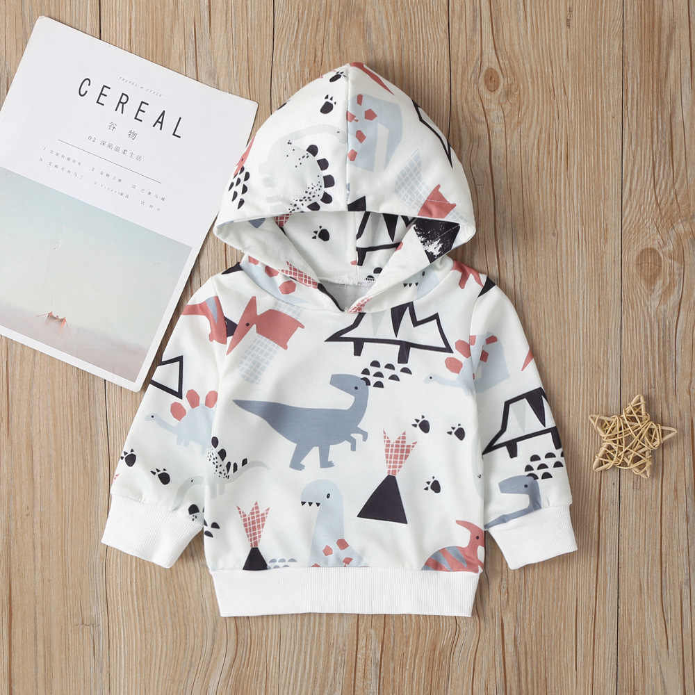 handsome boys autumn long sleeve hooded tops cartoon animals print hoodies toddler clothing kids baby boys costume 9M-4Y