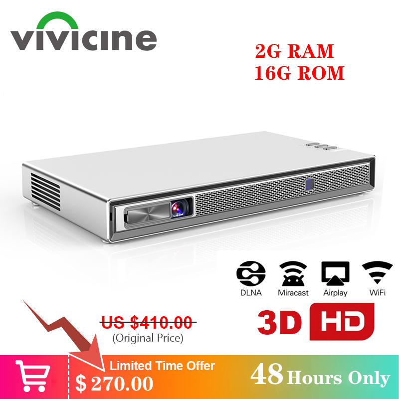 Vivicine T5 4k Mini Projector,Android 6.0 Bluetooth 4.2, 4000mAh battery,Smart HDMI USB PC Game Mobile Proyector Beamer
