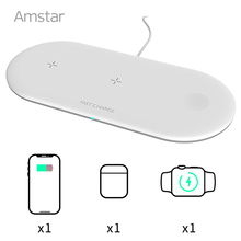 Amstar Qi Wireless Charger for Apple Watch 6 5 4 3 2 Airpods Pro 10W 3 in 1 Fast Wireless Charging Pad for iPhone 12 11 Pro Max