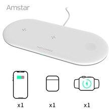 Amstar Qi kablosuz şarj Apple iphone için 5 4 3 2 Airpods Pro 10W 3 in 1 hızlı kablosuz şarj pedi iPhone 12 11 Pro Max XS