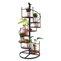 8 layers Europe vintage iron and wood metal shelf plants stand Creative Spiral stairs table decor indoor garden plant stand