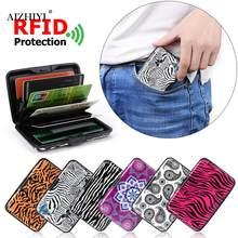 Mode carte de crédit porte-sac RFID en aluminium zèbre Animal motif portefeuille femmes hommes en métal affaires carte bancaire protecteur étui sac à main