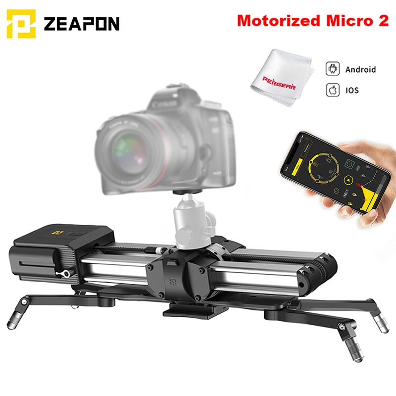 In Stock Zeapon Motorized Micro 2 Rail Slider Portable Aluminum Alloy for DSLR Mirrorless Camera w/ Easylock 2 Low Profile MountRail Systems   -