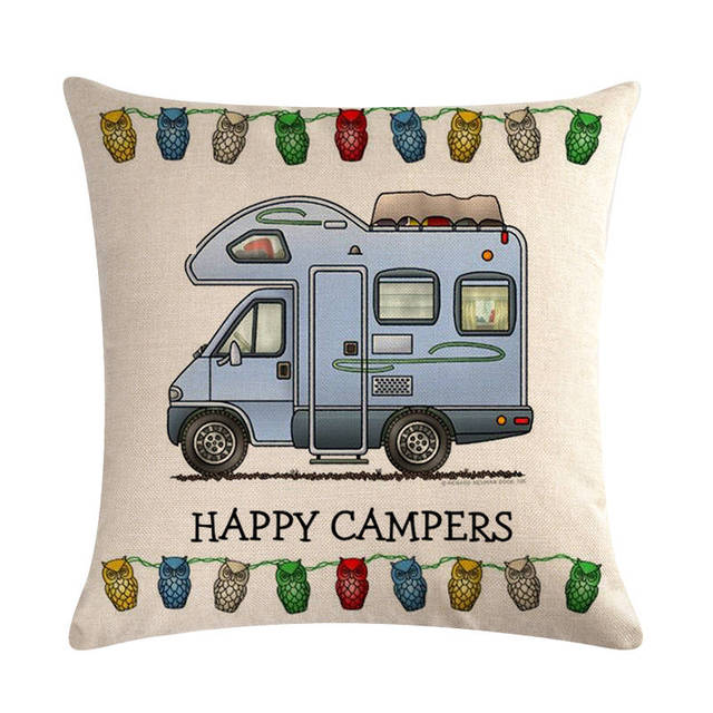 Camping Car Patterned Cushion Cover
