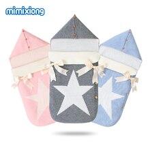 Конверты для новорожденных, вязанные спальные мешки с пятью звездами, Осенние серые пеленки на пуговицах для младенцев, спальные мешки, зимнее одеяло
