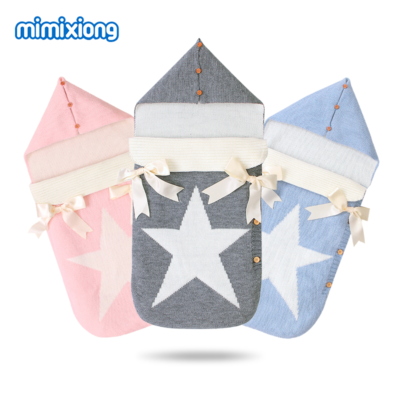 Baby Sleeping Bags Stroller Knitted Envelopes For Newborns Infant Swaddle Wrap Sleep Sacks Five Star Autumn Grey Winter Blankets