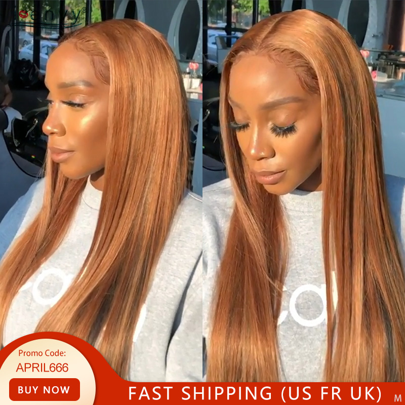Ginger Blonde Lace Front Wig Straight Pre Plucked Peruvian 13X4 Lace Front Wigs Human Hair For Black Women Lace Wig Non-Remy