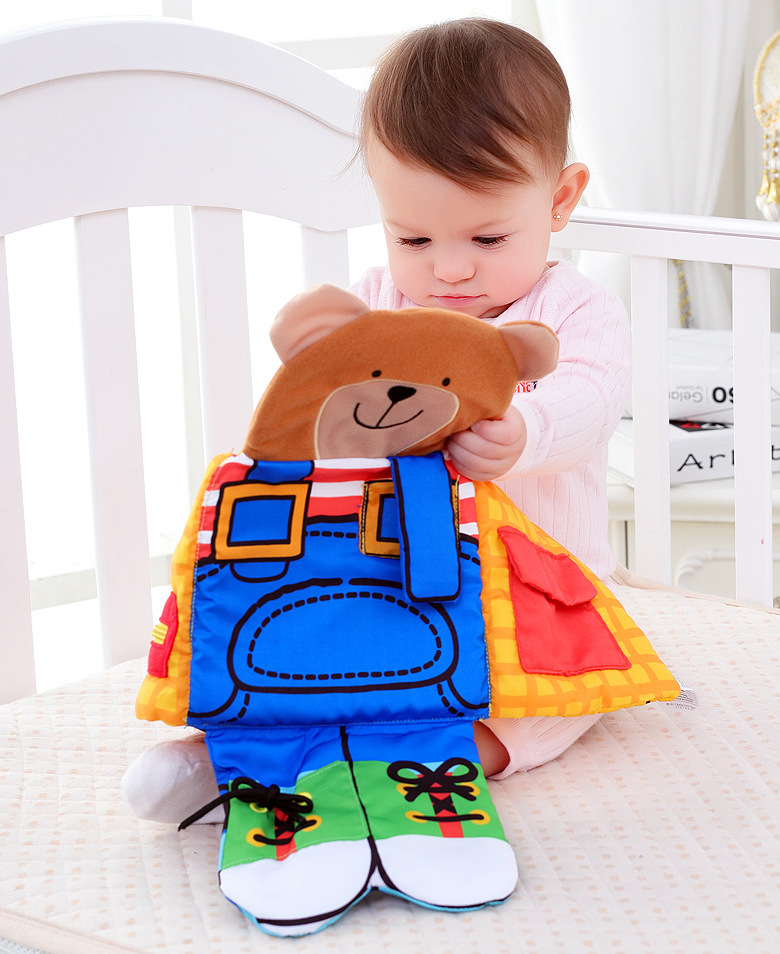 Baby Early Educational Toys Montessori Toys Bunny Bear Cloth Book Soft Appease Doll Life Skill Training Toddler Toys  (7)