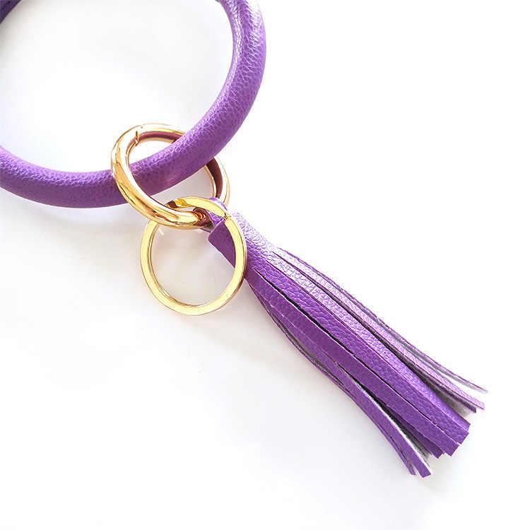 جديد موضة متعدد الألوان جلد شرابة المرأة السوار حقيبة سلسلة مفاتيح قلادة سبيكة سيارة مفتاح سلسلة حلقة حامل مجوهرات ريترو