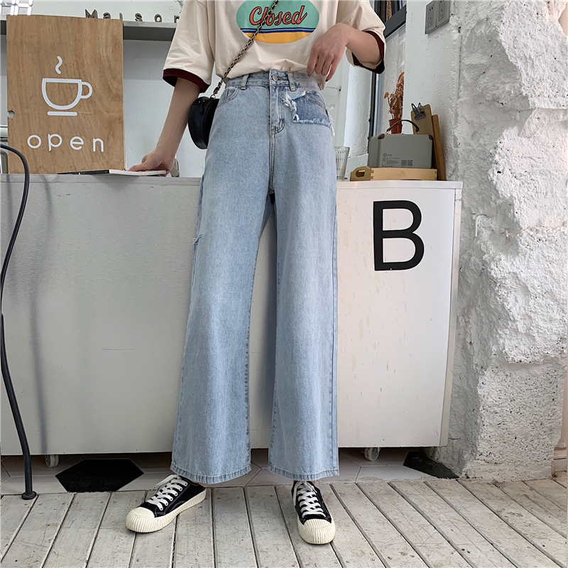 Retro Worn Jeans Korean Raw High Waist Loose Old Washed Denim Wide Leg Pants 2019 Summer New Hole Blue Woman Jeans Casual Pants