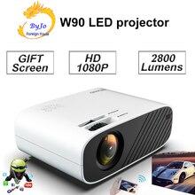 ByJoTeCH 2020 최신 W90 프로젝터 홈 시네마 지원 1080P 영화 Proyector 안드로이드 옵션 비머 선물 84 인치 화면