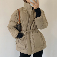 Lace-Up Loose-Jackets Winter Women Padded Solid-Color Cotton Long-Sleeved Thick EWQ Minimalist-Stand-Collar