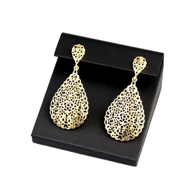 Sunspicems 2020 cor do ouro metal árabe conjunto de jóias oco pulseira brinco colar anel casamento bijoux argélia dubai nupcial presentes 4