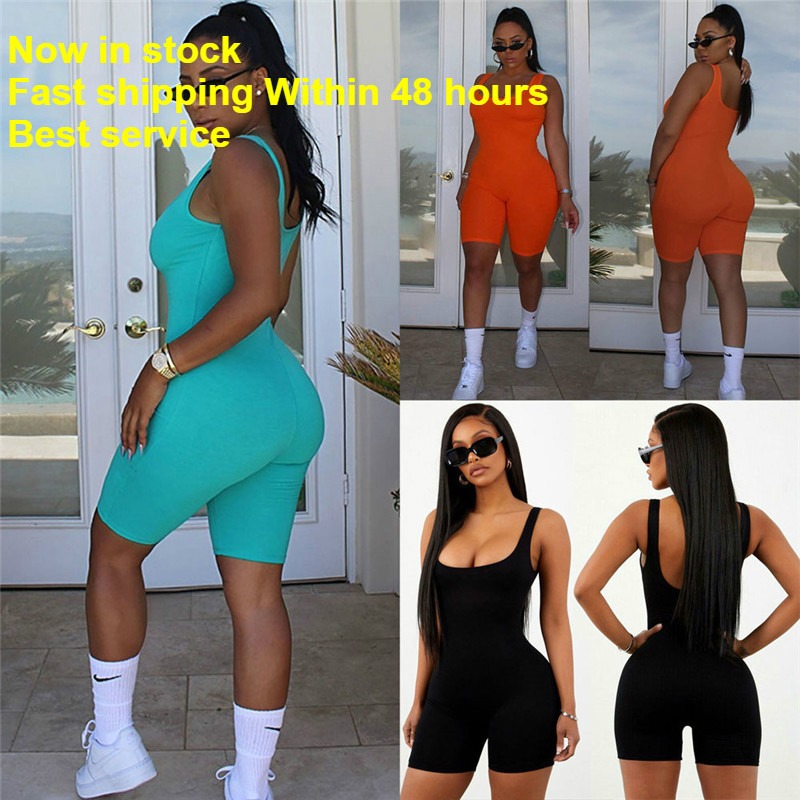 Women Short Romper Jumpsuit Leotard Sleeveless Top Stretch Blouse Lady Bodysuit
