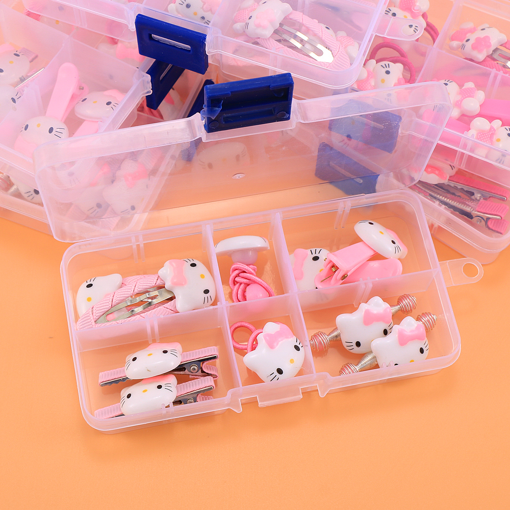 Cute Kids Girls Hello Kitty Hair Accessories Set Baby Bear Rabbit Hair Barrettes Hair Clips Elastic Hairbands With Storage Box