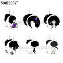 SOMESOOR Melanin Hiphop Wood Round Loops Afro Curls Natural Hair Wooden Drop Earrings Black Arts Printed Pattern For Women Gifts unfinished wood printing africa girl round drop earrings wooden african hiphop tribal handmade diy jewelry natural accessories