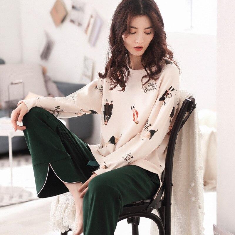 Autumn and Winter Pyjamas Women 100% Pure Cotton Long Sleeves Ladies Pajama Sets Sleepwear Female Sexy Pajamas Women Homewear 20