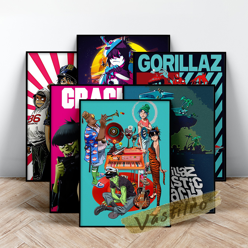 Free download gorillaz hd wallpapers. Gorillaz Poster Virtual Band Wall Art Cartoon Virtual Character 2d Noodle Russel Hobbs Murdoc Niccals Wall Picture Fans Gift Painting Calligraphy Aliexpress