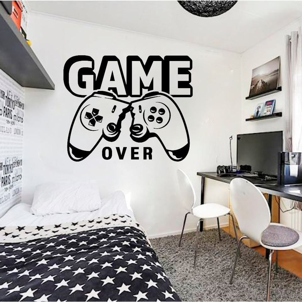 Game Over Wall Decal Video Game Controller Vinyl Stickers Gamer Kids Boys Bedroom Playroom Home Decor Creatives Wallpaper Q859 Wall Stickers Aliexpress