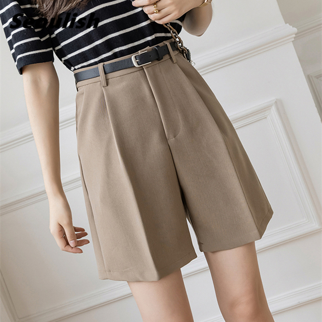 Seoulish 2021 New Summer Women's Shorts with Belted Solid High Waist Office Wide Leg Shorts Elegant Purple Loose Trousers Pocket 1