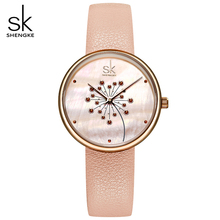 Shengke Women Watches Fashion Casual 30M Waterproof Wristwatch Ultra-thin Quartz Watches Lady Leather Strap Watch Montre Femme kevin fashion women red watch student quartz analog watches leather wristwatch elegant vintage casual crystal montre femme hour