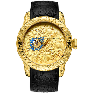 Image 3 - MEGALITH Fashion Men Watch Top Luxury Brand Gold Dragon Sculpture Watch Men Quartz Watch Waterproof Big Dial Sports Watches Man