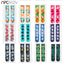 New Mens Fashion Tie Dye Hemp Socks Pure Cotton Crew Colorful Weed Sock Skateboard Hip Hop Street calcetines hombre divertido