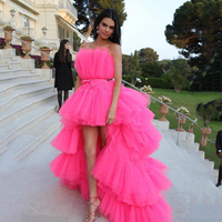 New Arrive High low Prom Dresses with Detachable Train 2020 Tulle Long Evening Dress Formal Party Gowns vestido de festa