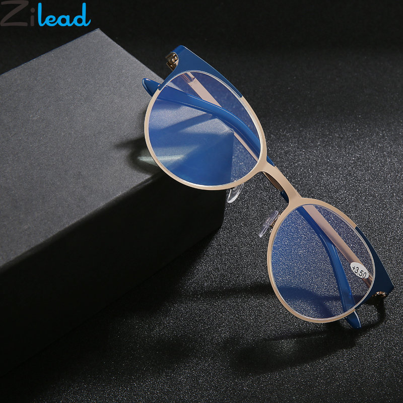 Zilead Metal Anti Blue Light  Reading Glasses Round Clear Lens Prebyopia Spectacles Men Women Hyperopia Eyeglasses +1.0to+3.5