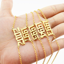 HIYONG Personalized Old English Number Necklaces Special Date Year Custom Necklace Jewelry for Women Birthday Gifts