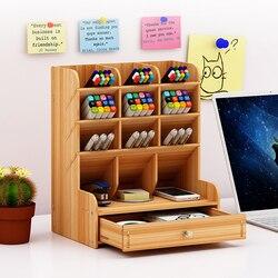 Многофункциональный деревянный Рабочий стол подставка держатель Косметическая подставка для карандашей коробка для карандашей ручка офи...