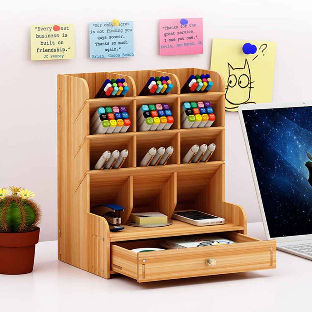 Multi-function Wood  Desktop Stand Holder Cosmetic Brush Storage Box For Pencil Pen Office Organizer Jewelry Display Rack