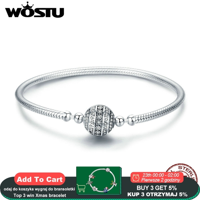 WOSTU אמיתי 925 סטרלינג כסף נוצץ כדור צמיד & צמידים לנשים Fit DIY קסמי חרוזים תכשיטי המקורי מתנה CQB062