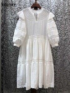 Женское ажурное платье с вышивкой, белое, темно-синее платье до середины икры с рюшами и рукавом 3/4, из 100% хлопка, весна-лето 2020