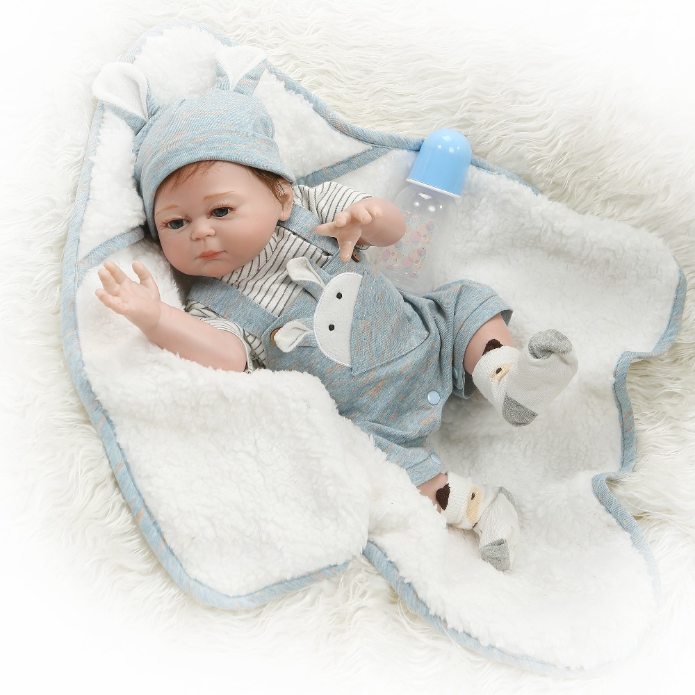 NPK 49CM full body silicone reborn baby doll twins boy and girl reborn hand paint red skin rooted hair waterproof bath toy