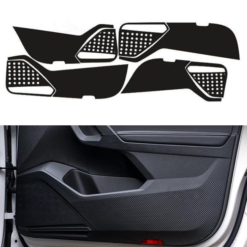 For Volkswagen VW Tiguan L 2017 2018 Carbon Fiber Style Car Door Anti-Kick Pad Protective Film Car Stickers 4Pcs