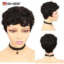 Wignee Jerry Curl Short Human Hair Wigs For Black Women Full Machine Remy Brazilian Hair150% Density Glueless