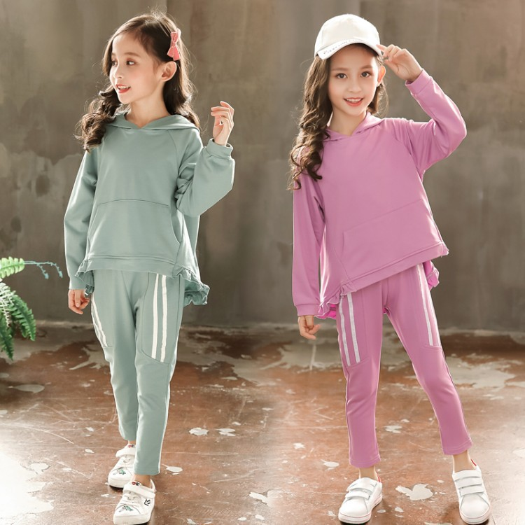 Spring Autumn Girl Clothes Hoodies+Pants Sport Suit Girls Clothing Set Kids Children Clothing 2pieces Teenager Casual Tracksuit
